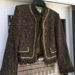 ♥️RENFREW Brown & Green Tweed Crop Jacket Sz 10